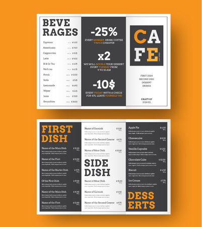 Design of a trifold menu for cafes and restaurants with alternating black and white blocks with orange elements. A4 templates for printing. Vector illustration