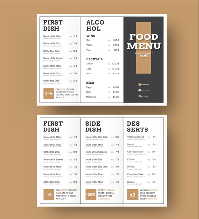 Template white vector trifold menu with a black cover and brown elements. Design for cafes and restaurants.