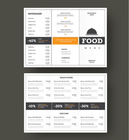 Design vector folding menu for cafes and restaurants with vertical and horizontal blocks for text and shares. White color patterns with black strokes.