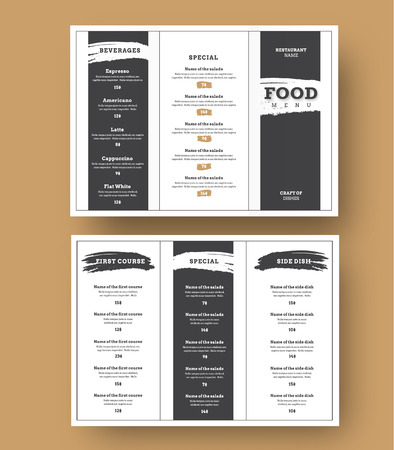 White menu template with black grunge elements for cafes and restaurants. Trifold brochure design for printing.