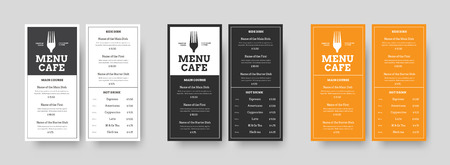 Set of vector menu Format DL restaurants and cafes with an outer stroke and blocks for text. Design templates in black, white and orange for printing.