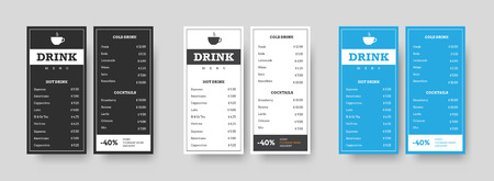 set of vertical DL menu black, white and blue for drinks. Template with linear designs for cafes and restaurants. Design for printing. Vector illustration Reklamní fotografie - 123416064