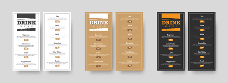DL vertical vector menu design with grunge texture dice for headers and prices. Patterns are white, black and brown with an outer stroke for cafes and restaurants. Set Ilustrace