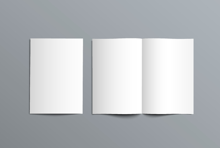 Vector mockup bi-fold catalog for the presentation of the design. Template of open and closed brochure isolated on background.
