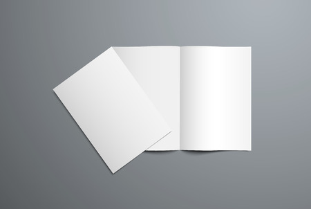 Realistic vector mockup of open and closed bi-fold brochure. White template of the blank catalog for the presentation of the design of the cover and pages. Isolated on background.