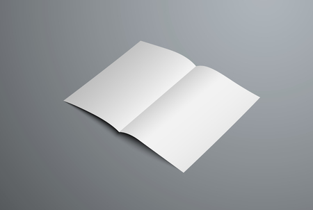 Realistic vector mockup of open bi-fold booklet. White blank letterhead template for design presentation. Isolated on background. Ilustrace