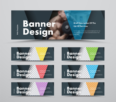 Set of horizontal web banners with triangular intersecting elements and space for photo. Standard size templates with color transparent elements.