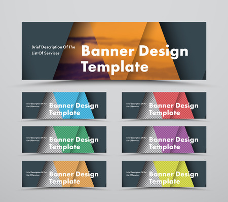 template of horizontal black web banners with triangular intersecting elements and space for a photo. A set of standard size in material design style.