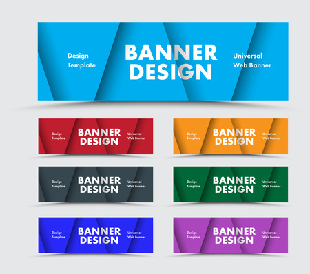 Templates of horizontal multicolored web banners with soaring triangles in the style of material design. Vector design. Set