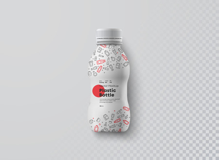 Vector realistic mockup  of white plastic curly bottle for beverage top view. Universal template for the presentation of the design of packaging milk, yogurt or kefir. Isolated on white background.