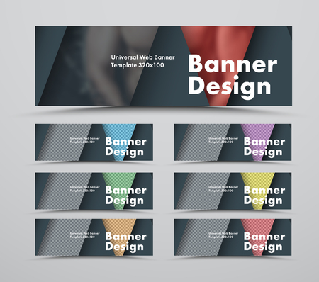 set of black web banners of a standard size in the style of material design with triangular elements for a photo. Templates with colored dies. Vector illustration