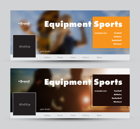 Templates of vector banners for social networks with a place for a photo and a color square for heading. A set of standard size. Sports theme