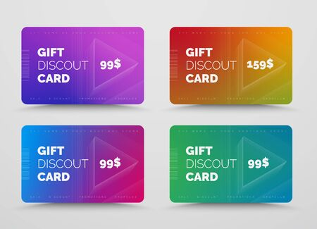 Vector gift card design with soft blended gradients and voluminous triangles of lines. Templates for discounts and sales. Ilustrace