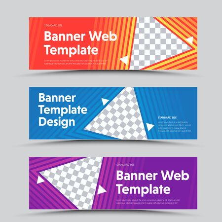 Design of vector horizontal banners with a triangular shape for the photo and the outer color stroke. Templates for the web. Set