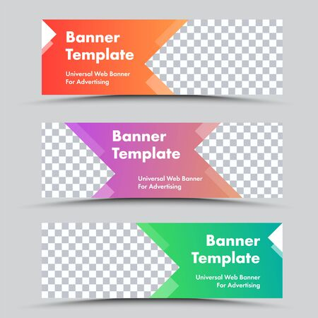 Set of vector colored web banners with arrow shapes and place for photo. Standard size templates with text. Ilustrace