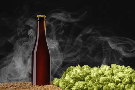 Drink mockup series. Brown beer bottle with reflections that stands on wheat and cone of hop  on a dark studio background with light smoke. Template ready to use on your showcase.