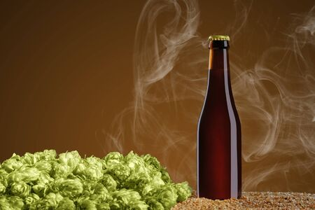 Drink mockup series. Brown beer bottle that stands  on wheat and cone of hop on a umber studio background with smoke. Template ready to use on your design. Reklamní fotografie