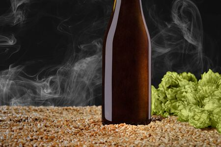 Drink mockup series. Brown beer bottle with reflections  that stands on wheat and cone of hop on a  black studio background with smoke. Template can use on your showcase.