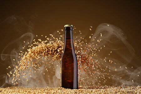 Drink template series. Brown beer bottle with reflections on a  smoke umber  background with heavily scattering wheat grains. Mockup ready to use on your showcase. Reklamní fotografie