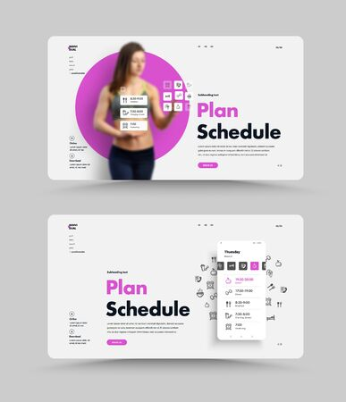 Vector white web page template for planning your daily routine. UI website design with mobile phone and application. Interactive interface.