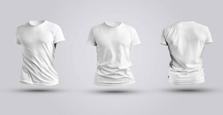Three mockups of white realistic 3d t-shirt isolated on white background. Men's clothing template for design presentation.