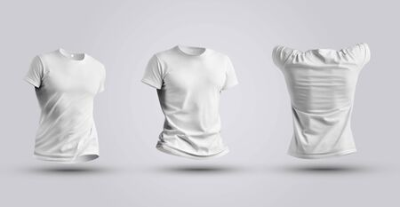 Three tempalte of white realistic 3d t-shirt isolated on white background. Mens clothing mockup ready to use for your design presentation. 스톡 콘텐츠