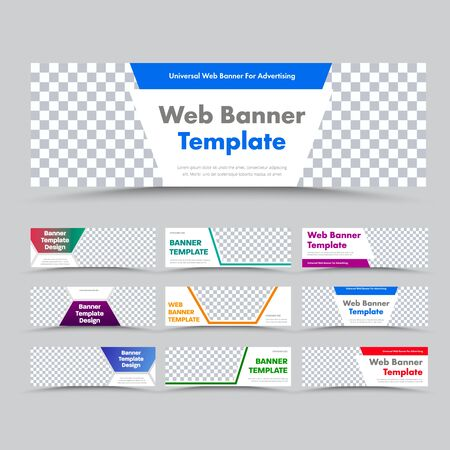 Templates of horizontal white modern web banners with place for image and color different shapes for text. Design for business and advertising. Standard size set. Vector