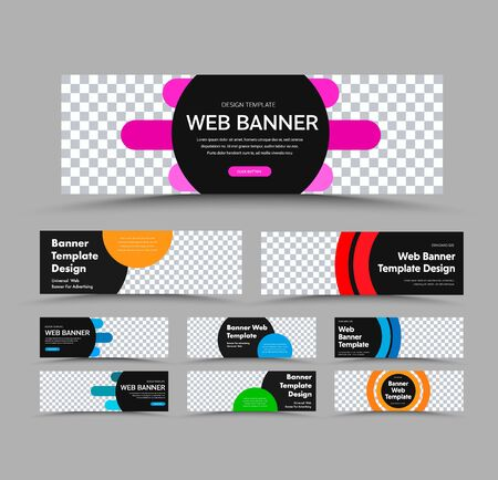 Horizontal black vector web banner templates with place for photo and text and colored round and rounded design elements. Set for advertising business.