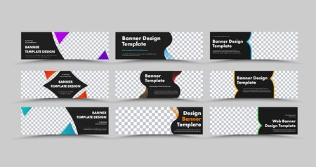 Design of horizontal black vector web banners with colored triangles and lines and place for photo. Set of templates for our advertising business.