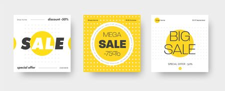 Set of vector square web banners for big sale with round yellow and white elements. Templates for social networks.