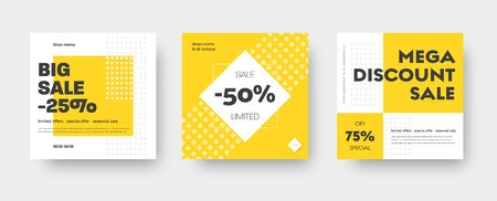 Vector square web banner templates for big and mega sale with yellow square elements. Set for discounts. Social Media Design Stock Illustratie