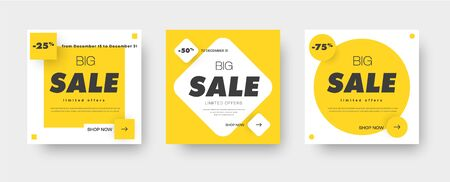 Design square white banners for sale with a yellow square, rhombus and circle on the background. Templates for web design. Set. Vector illustration