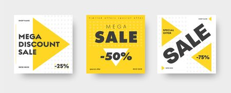 Square white and yellow web banner templates for big sale with triangles and discounts. Standard size design. Set. Vector illustration