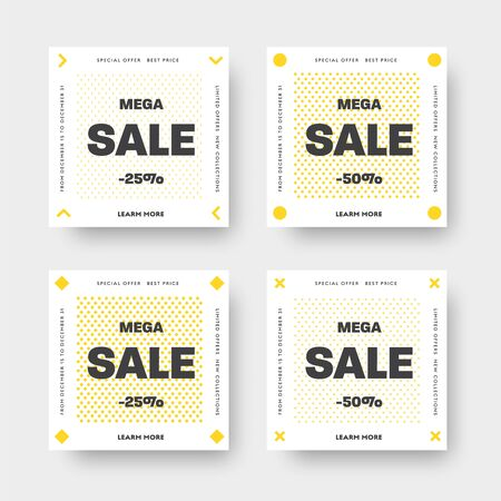 Set of white vector web banners for big and mega sale with yellow patterns of arrows, circle, rhombuses and crosses. Templates for social media stadar size, for discounts.