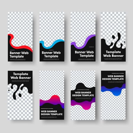 Design of vertical black web banners with place for photo and wavy color shapes. Standard size templates for business and advertising. Vector illustration. Set