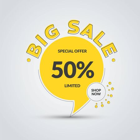 Vector yellow round leg banner for big sale and discounts. Tag template with stroke and text.