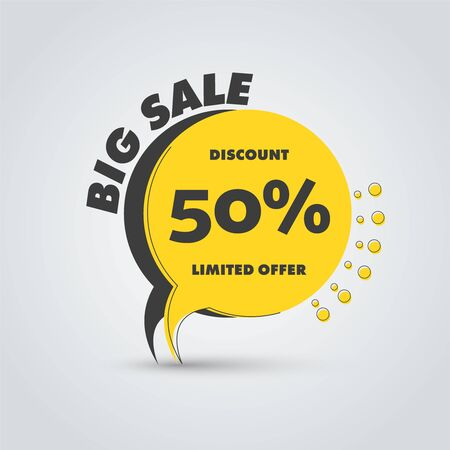 Vector yellow and black leg label for big sale and discounts. Template tag, web banner with stroke, text and percent. Banco de Imagens - 131308256