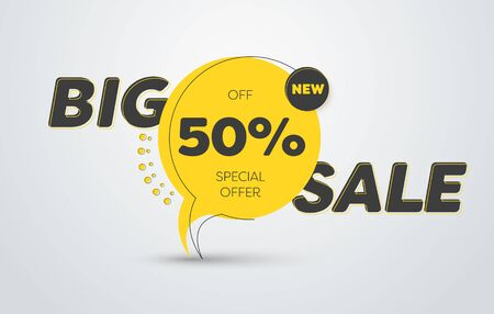 Vector round yellow label for big sale with black lines and text. Banner template with button. Tag  イラスト・ベクター素材