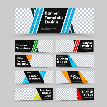 Horizontal black vector web banner templates with diagonal colored lines for, place for photo and text. Design for advertising. Set Фото со стока - 131307901