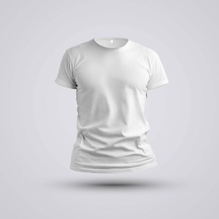 Cloth template. Visualization of a blank t-shirt on a body without a man with shadows on white background. Front pose. Mockup ready to use in your showcase.