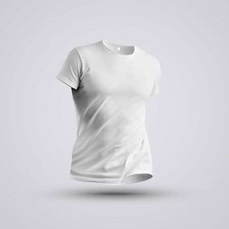 Cloth template. Visualization of a blank t-shirt on a body without a man with shadows on studio background. Front pose. Mockup ready to use in your design.