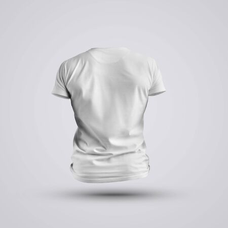 Cloth template.  Visualization of a blank t-shirt on a body without a man on white background. Back pose. Mockup ready to use in your design.