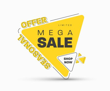 Template of yellow triangular vector banner with stroke for discounts. Tag design with black elements for big sale.