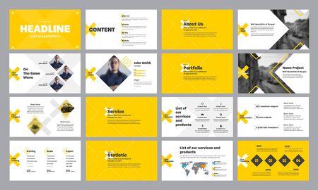 Szablon żółto-białych slajdów prezentacyjnych z rombami i krzyżykami, do raportu rocznego i startupów. Projekt slajdu internetowego dla koncepcji elementów marketingu i infografiki na osi czasu