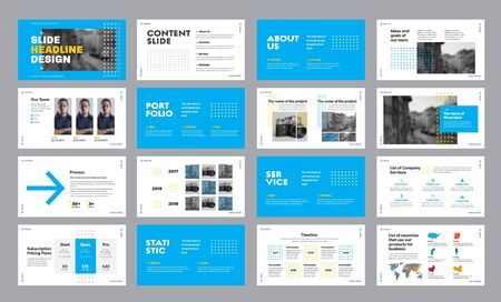 Design of blue and white presentation slides with arrows and squares, for annual report and web slides for marketing. Template for startup and infographic timeline elements concept. Ilustracje wektorowe