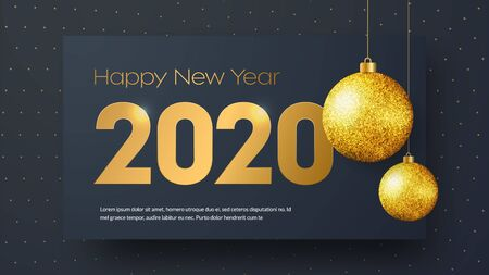 Template of black vector banner Happy New Year 2020 with golden numbers and balls on the background with luminous dots.