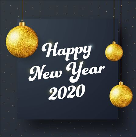 Design of a square black vector banner Happy New Year 2020 with golden numbers and balls. Template for social copper and email newsletters