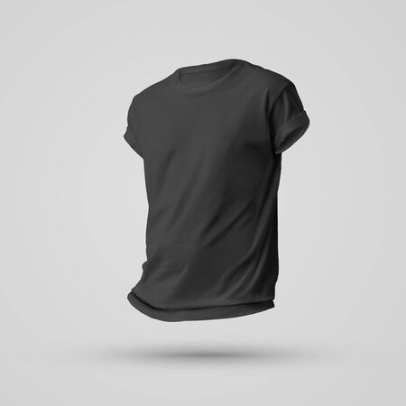 Mockup design of black blank t-shirt with shadows on the body without a man. Front view. Template for advertising and presentation of clothing.