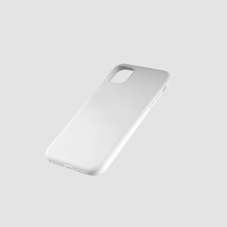 White cover template for presentation of design and advertising in the online store. Mockup case on smartphone on an isolated background.