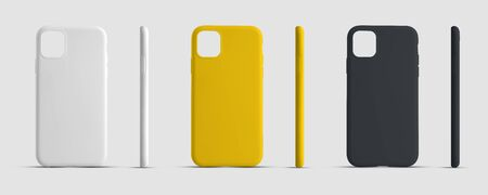 Mockup case for a mobile phone for advertising in an online store. Smartphone cover template for presentation design. Set of white, yellow and black container Stok Fotoğraf